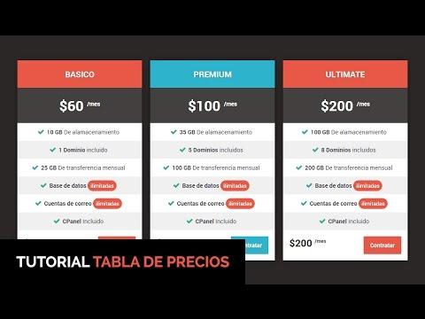 Como hacer una tabla de precios en html css youtube for Text table design