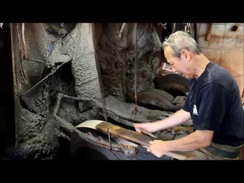 Sakai Takayuki give an edge to a Japanese sashimi knife made by Norikatsu Nisimura