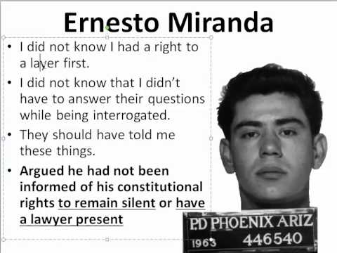 miranda vs arizona The timeline below highlights the most salient moments in the case of miranda varizona, including the results of his second trial 1963—on march 13, 1963, ernesto miranda is arrested 1963—on march 27, 1963, miranda is denied legal representation at a preliminary hearing.