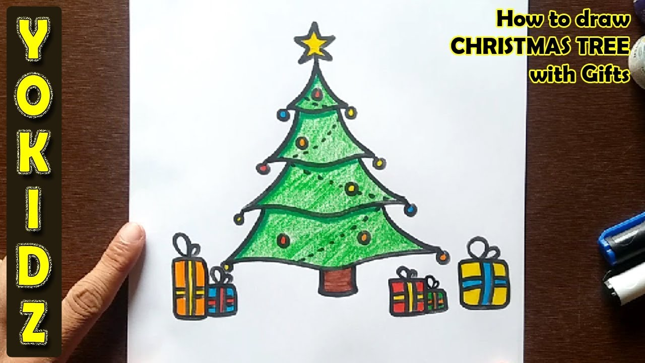 How To Draw Christmas Tree With Gifts Youtube
