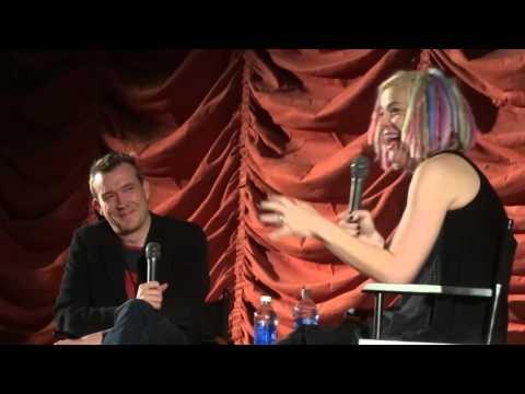 David Mitchell with Lana Wachowski at the Music Box Theatre 2 of 5