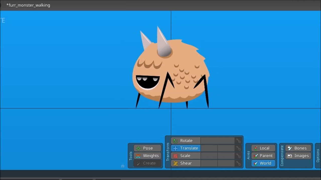 Free 2D Game Asset | Furry walking Monster Animation | Made with Spine 2D