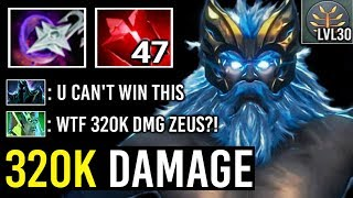 NEW WORLD RECORD 320K DAMAGE in 77 Min 7.23 Scepter Zeus GOD Most Crazy Divine Rank Imba Fun Dota 2