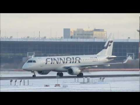 Finnair Embraer E-190 De-icing and Takeoff at Helsinki Airport, Finland