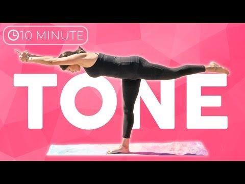 10 min Full Body Power Yoga Workout | Tone Yoga Flow  | Sarah Beth Yog…