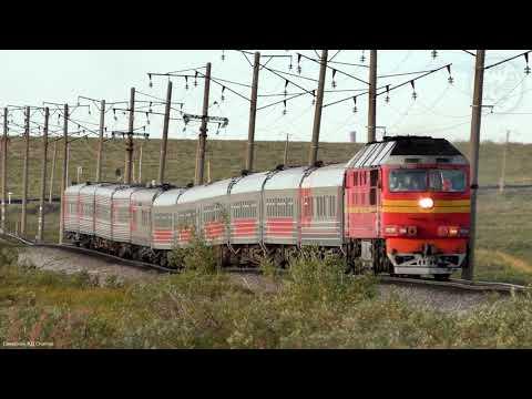 Скорый, фирменный поезд №42 Москва - Воркута. Съёмка: Воркутинский район.