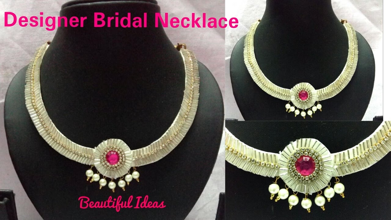 DIY/How to make Paper/Crystal Glass Beads Designer Bridal Necklace ...