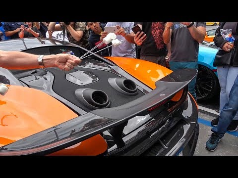 Roasting a Marshmallow on Florida first McLaren 600LT Flamethrower - Exotics and Espresso
