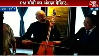 PM Modi Tries His Hand At Traditional Mongolian Music Instrument