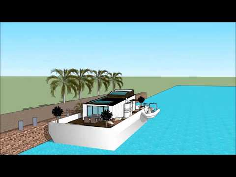 Tiny houseboat living Homes Design floating on an eco barge in San Diego Houston Norfolk Marina