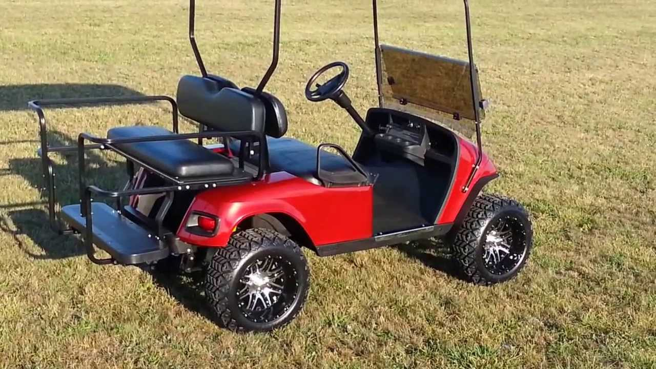 Custom Golf Cart Headlights : Custom candy red lifted golf cart with turn signals brake