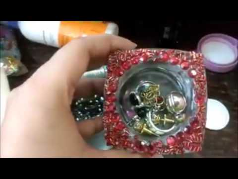 DIY: How to make JEWELLERY BOX/GIFT BOX – RECYCLING EMPTY CREAM BOTTLE OR SMALL CREAM CONTAINER