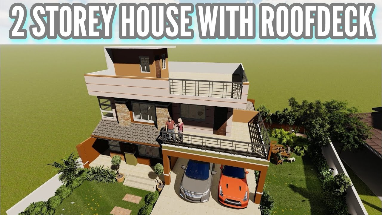 House Design 2 Storey House With Roofdeck Youtube