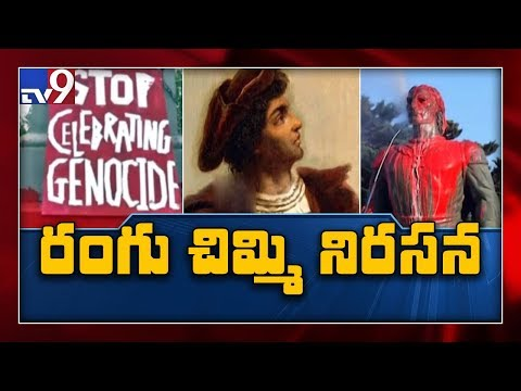 Columbus statue in Rhode Island covered in red paint- TV9 thumbnail