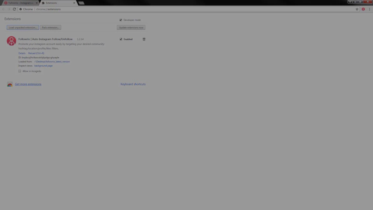 How to install chrome extension manually (In Developer Mode) |  followrio com real instagram follower