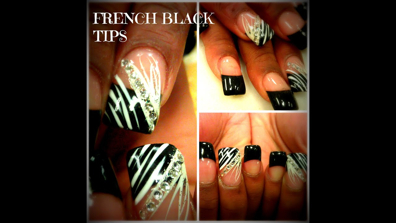 HOW TO FRENCH MANICURE BLACK NAIL TIPS - YouTube