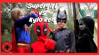 Little Supergirl vs Kylo Ren in Real Life, Batman & Deadpool On the Case | Fun SuperHero Kids Movie