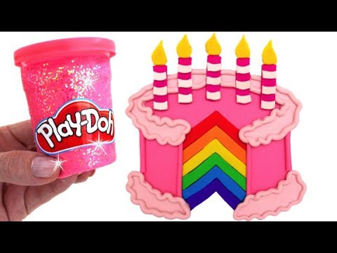 Learn Colors Play Doh Making Colorful Birthday Cake Surprise Toys Disney