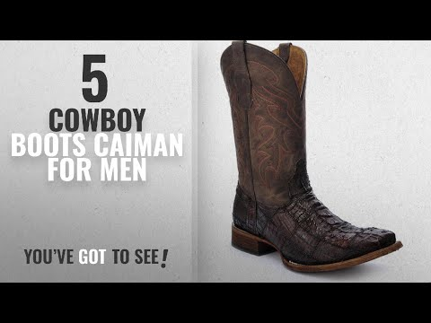 Top 10 Cowboy Boots Caiman [ Winter 2018 ]: Circle G Men's Caiman Patchwork Cowboy Boot Square Toe