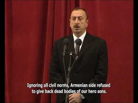 Speech by Ilham Aliyev at the farewell ceremony for martyrs Mubariz Ibrahimov and Farid Ahmadov.