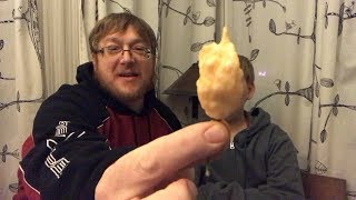 11 Year Old Eats First Ghost Pepper.  Pepper review Jays Peach Ghost Scorpion Pepper