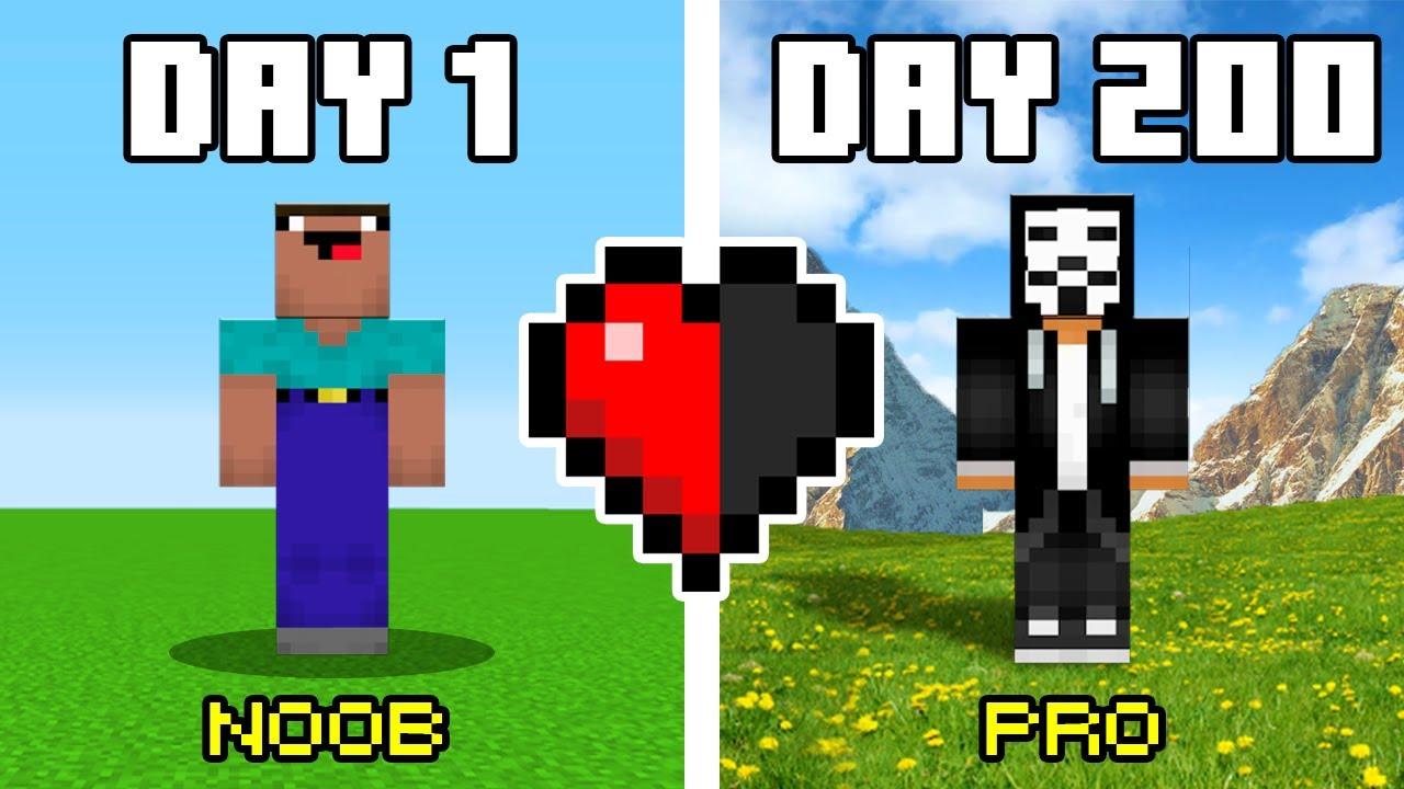 200 Days in HARDCORE Minecraft Noob Vs Pro Challenge!