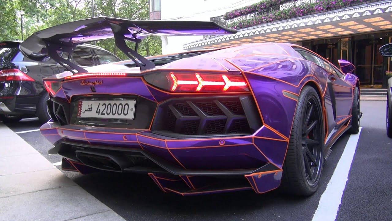 CRAZY CHROME PURPLE Lamborghini Aventador with LB ...