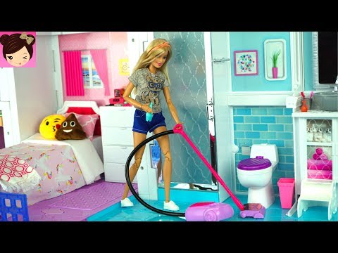 Barbie House Cleaning Morning Routine - Grocery Store Supermarket Toy Shopping