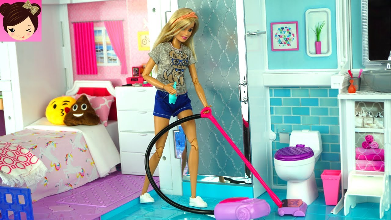 Barbie House Cleaning Morning Routine - Grocery Store Supermarket ...