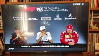 Max Verstappen calls Ocon a pussy in post race press conference.