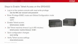 How to Enable Telnet Access on the Avaya ERS4000