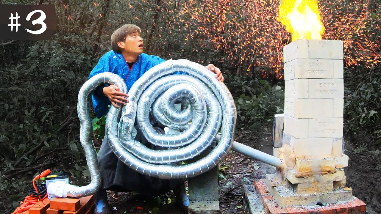1200℃を超える渦巻き溶鉱炉を作ってみた【釣り具サバイバル#3】