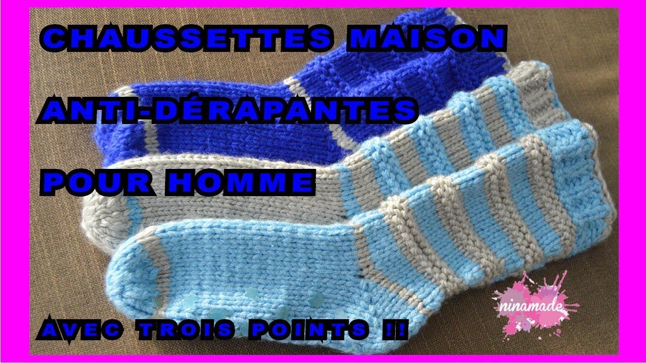 a4eec95e06679 DIY. Chaussettes Maison Pour Homme // Knit Slippers Socks For Men ...