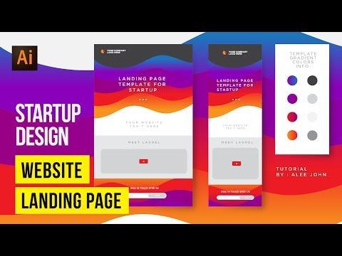 Website Landing Page Template For Startup | Illustrator Tutorials | Speedart thumbnail
