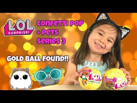 LOL Confetti Pop and Pets Series 3 - Gold Ball Found! Cathleen's Toy Reviews