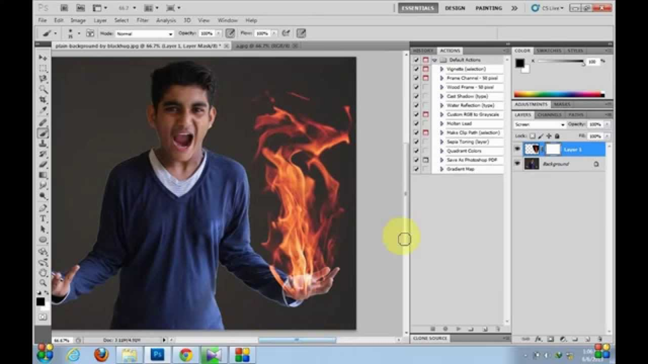 - Way Hands Effect Learn fire Youtube -easiest In To Flame Cs5 Photoshop