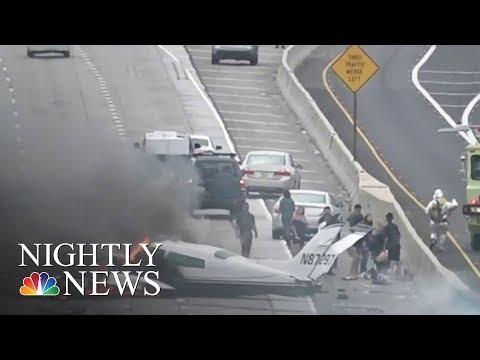 Video Shows Small Plane Crash Onto Busy California Freeway And Burn   NBC Nightly News