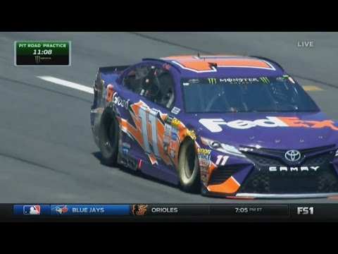 Monster Energy NASCAR Cup Series 2017. Pit Road Practice All-Star Race. Denny Hamlin Crash
