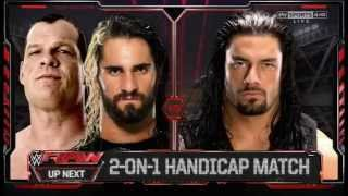 2 on 1 Kane and Seth Rollins vs Roman Reigns