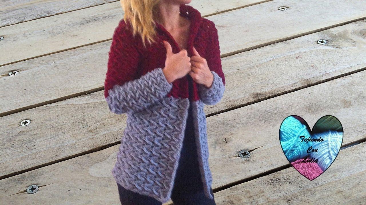 2b55fc78eb03 Crochet: Abrigo cardigan chaqueta mujer tejido a crochet parte 2/3