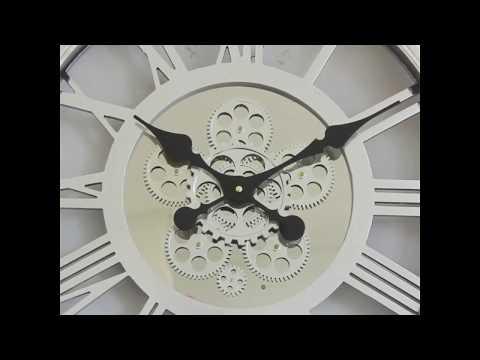 London Steampunk Skeleton Silver Moving Gear Wall Clock