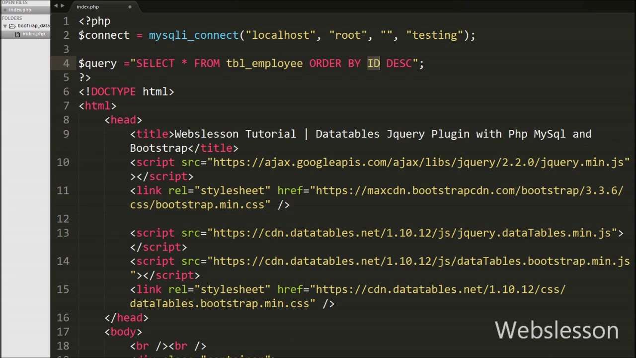 Datatables Jquery Plugin with Php MySql and Bootstrap