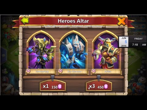 Castle Clash: Lucky Hire, rolling 450 gems to get Immortep and Aries