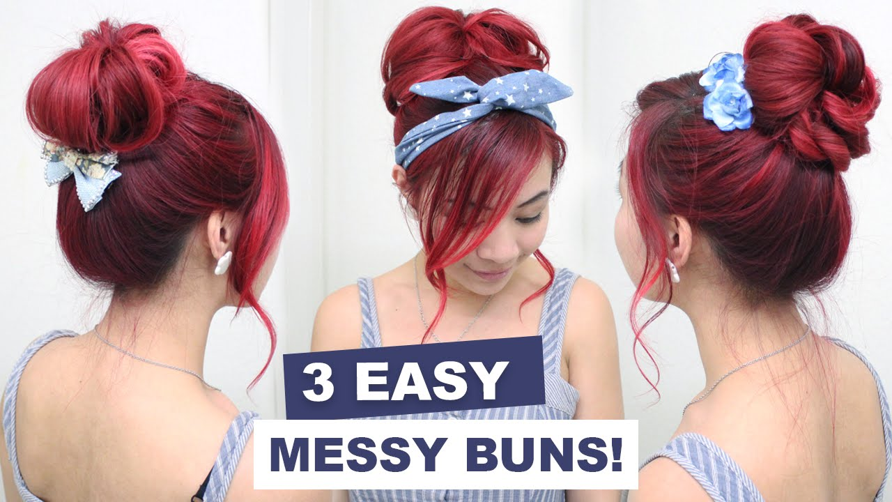 L Hairstyle: 3 Easy Messy Buns L Cute Hair Buns L Summer Hairstyles For