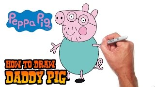 How to Draw Daddy Pig- Peppa Pig- Video Lesson