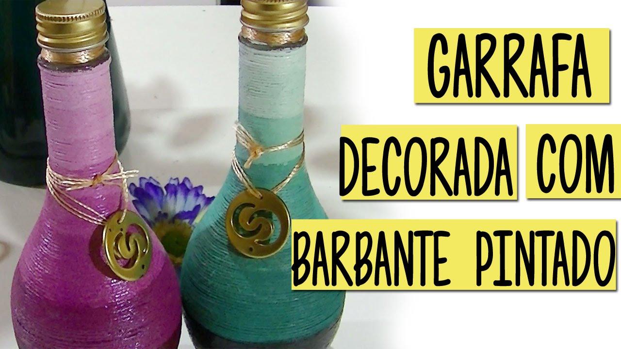 Do lixo ao luxo Garrafa de vidro decorada com barbante pintado (efeito ombre degrad u00ea) YouTube -> Decorar Garrafas De Vidro Com Barbante