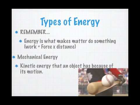Types of Energy & the Law of Conservation of Energy
