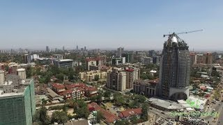 Epic Aerial of Nairobi city center in day/night and roads around