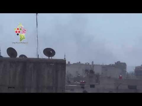 تنسيقية دوما : تصاعد لاعمدة الدخان من حي جوبر الدمشقي بالغوطة الشرقية 2015.4.4