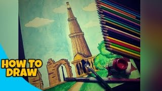 How to draw Qutub minar